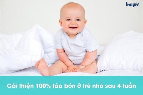 cải thiện 100% táo bón ở trẻ nhỏ sau 4 tuần